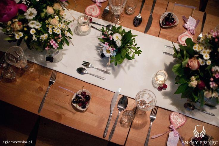 3. Cherry Wedding,Centerpiece,Field flowers / Czereśniowe wesele,Dekoracje stołu,Polne kwiaty,Anioły Przyjęć