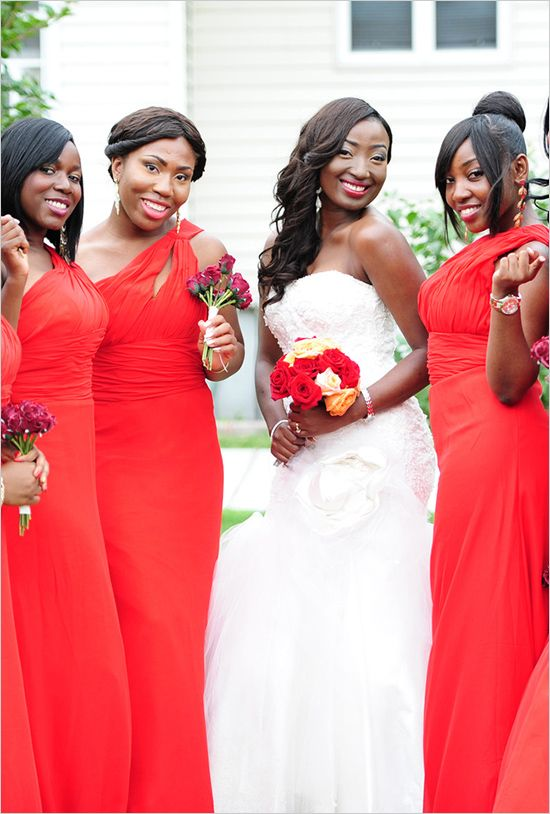 red bridesmaids dresses from a wedding designed by statuesque events http://www.weddingchicks.com/2014/02/05/statuesque-events/