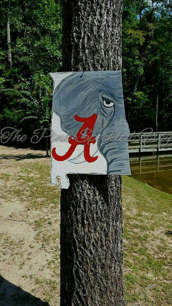 Alabama door hanger by ThePinkSpeckledFrog on Etsy