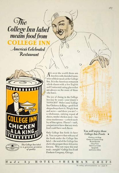 1929 Ad College Inn Chicken A La King Canned Food Meat Chef Kitchen Cooking YGH1 - Period Paper
