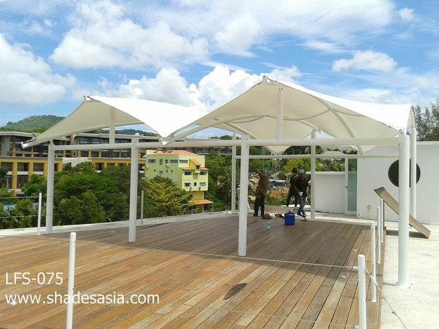 adding a little shade to this rooftop deck - manufactured by Shades Thailand Ltd. www.shadesasia.com - we ship worldwide. Shades, awnings, covers, blinds, facades, etc.