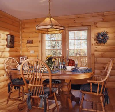 Superior Dining Room With Interior Log Paneling