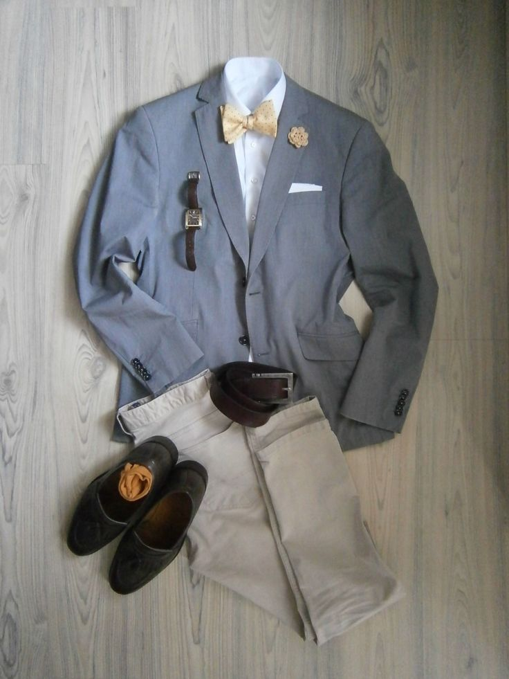 light grey unlined cotton jacket / beige chinos / white long arm shirt / yellow silk bowtie with polka dots / white cotton hankerchief / yellow crocheted boutonniere / chocolate brown loafers / brown leather belt / yellow socks / brown watch