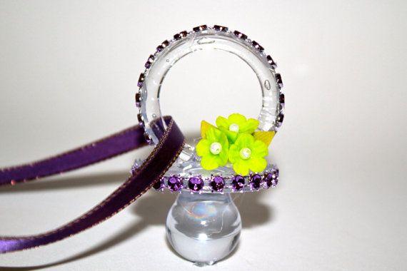 purple baby shower pacifier necklace 12 pieces by favorsboutique