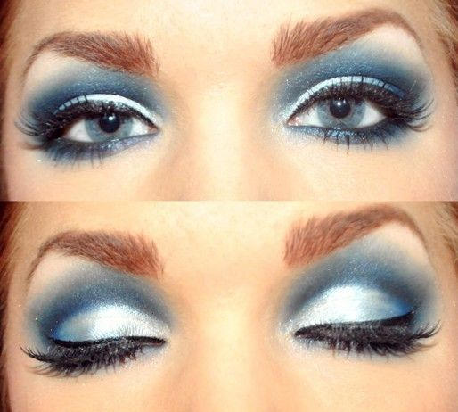 Makeup Creations: Eye Makeup, Beautiful Blue, Eye Shadows, Eyemakeup, Drag Queen, Smokey Eye, White Eyeshadows, Blue Eyeshadows, Eyeshadows Makeup