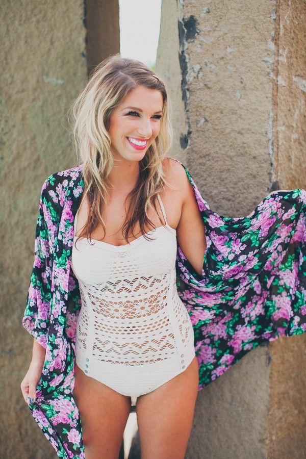 Crochet one-piece swimsuit with floral kimono, 2015 ...