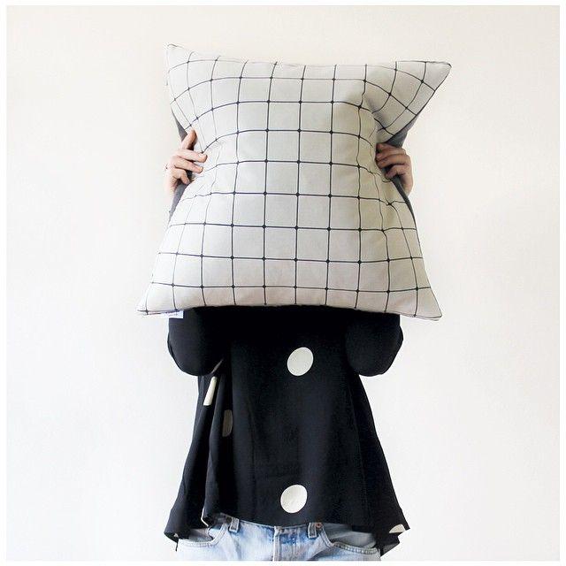 Jennifer + Smith Cushion Selfie   Charcoal Grid Cushion   Mute Collection   www.jenniferandsmith.com