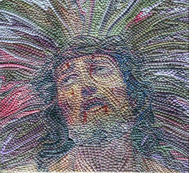 Micro mosaico de Cristo 28 x 28 cm