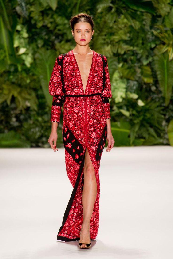 Naeem Khan, New York Fashion Week, Spring 2014, red patterned, deep v-neck dress paired with milkmaid braids.
