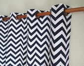 "Pair of 25 x 84"" rod panels, rod drapes, rod curtains  chevron zig zag -black blue grey taupe yellow red pink green. $58.00, via Etsy."