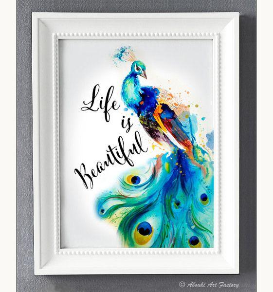 Originaldruck - Kunstdruck A4 Pfau Life ist beautiful  - ein Designerstück von AboukiArtFactory bei DaWanda