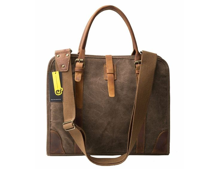 Dark brown canvas & leather messenger bag for business men and women