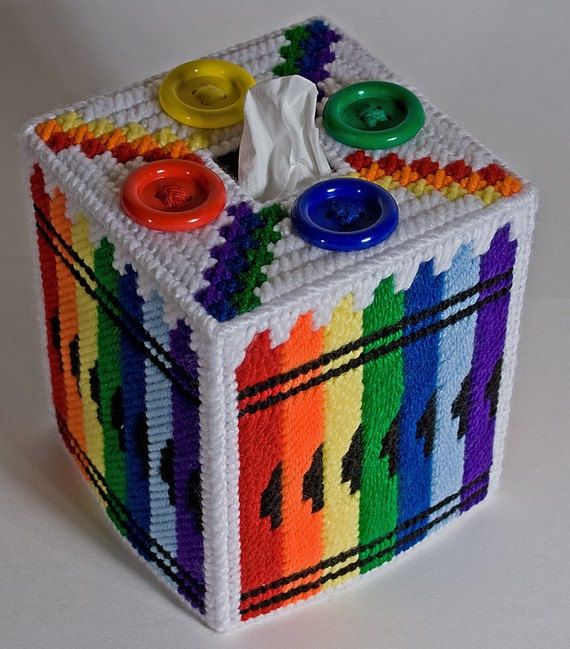 Crayon Button Tissue Box Cover by cecrafts on Etsy, $14.50