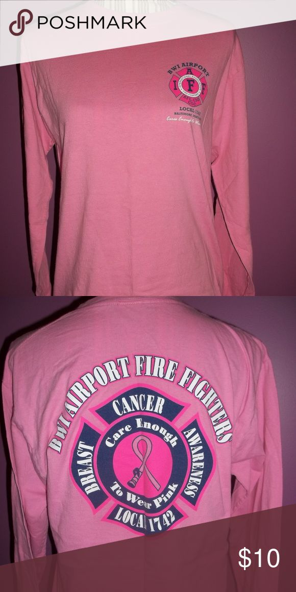 Size Medium BWI Airport Firefighter Long Sleeve Breast cancer awareness long sleeve unisex Fruit of the Loom Shirts Tees - Long Sleeve