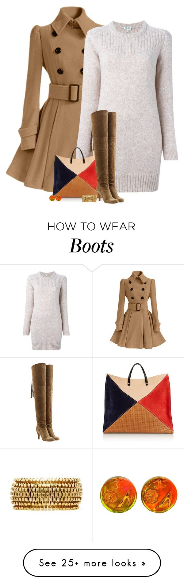 """Over the Knee Boots"" by barbarapoole on Polyvore featuring mode, Kenzo, Clare V., Chloé, Chanel en Kenneth Jay Lane"
