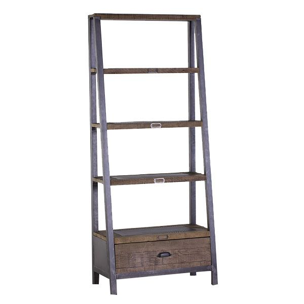 Industrial style shelving units made from bleached pine wood and rustic black metal. A great choice for a contemporary dining room.
