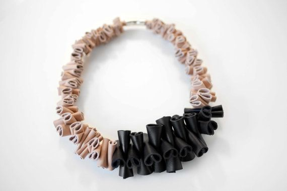 Beige Black Leather Necklace  Statement necklace by EleannaKatsira, €105.00