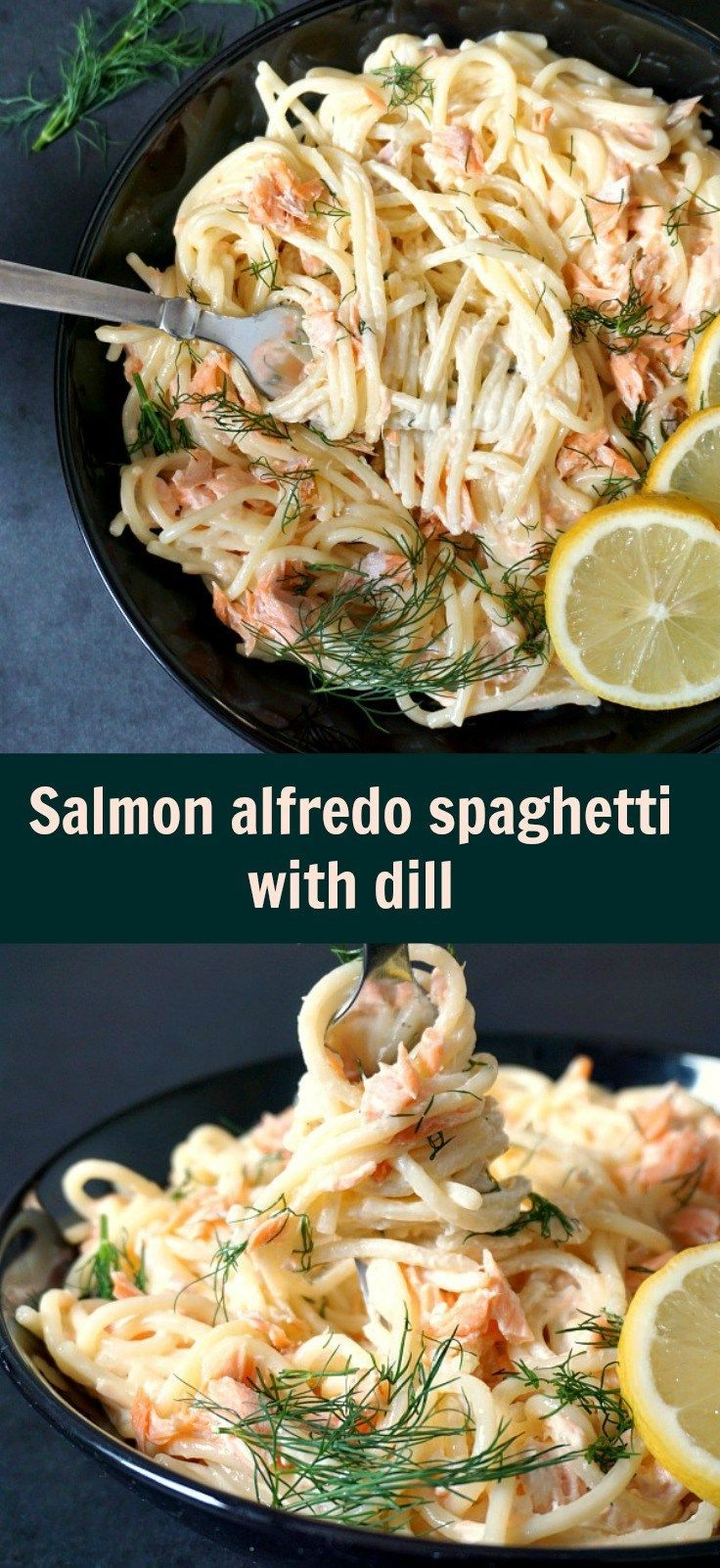 Salmon alfredo pasta with dill, a delicious under 30-minute recipe that makes a lovely dinner with the family.