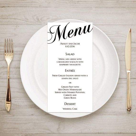 Printable wedding menu card Traditional wedding by CardsForWedding
