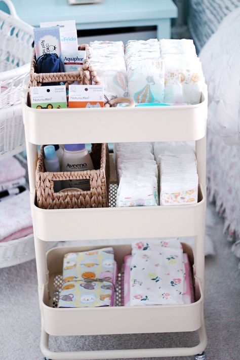 New Mom Essentials. The IKEA diaper changing cart with a list to all the necessi…