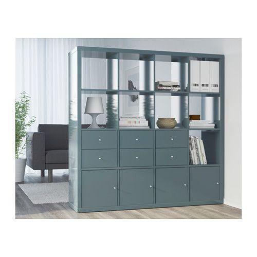 KALLAX Shelf unit, high gloss gray-turquoise high gloss gray-turquoise 57 7/8x57 7/8
