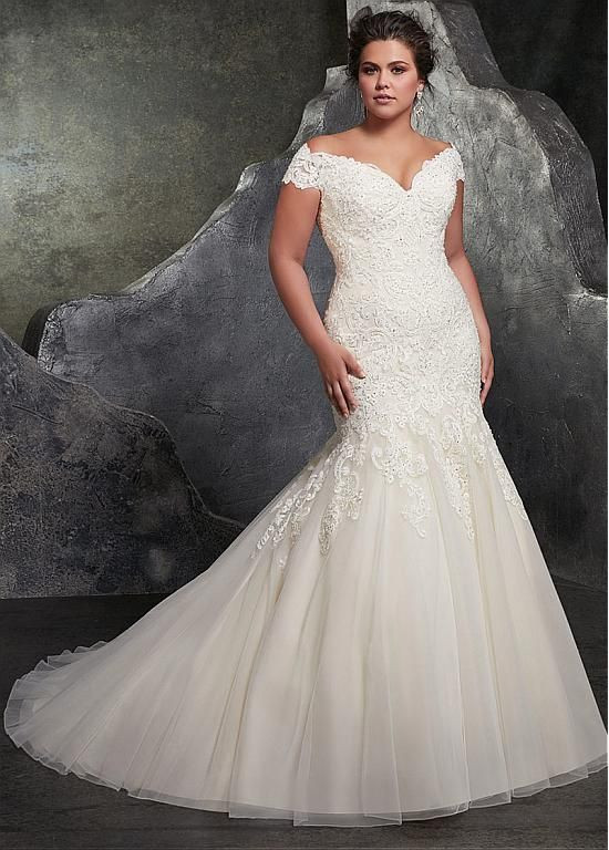 Buy discount Fantastic Tulle Off-the-shoulder Neckline Mermaid Plus Size Wedding Dress With Beaded Lace Appliques at Magbridal.com