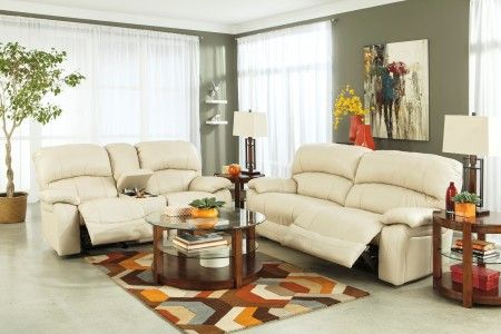 Damacio Cream Power Reclining Living Room Set Style Contemporary Color Creams Type Leather