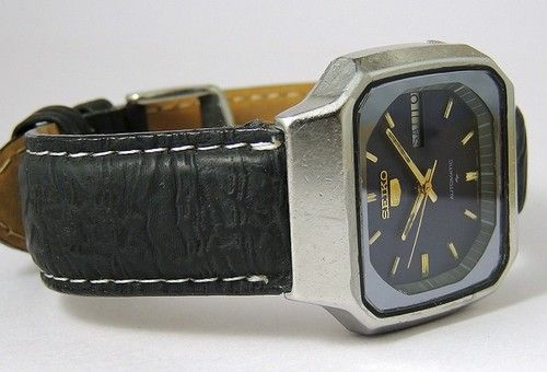 Vintage Seiko 5 Automatic Day Date Watch Square Japan Rare ...