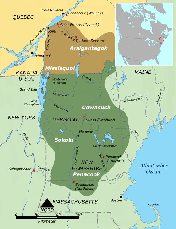 """The Missiquoi (or the Missisquoi or the Sokoki) are a Native American tribe located in the Wabanaki region of what now is northern Vermont and southern Quebec. This Algonquian group is a sub-group of the Abenaki who lived along the eastern shore of Lake Champlain at the time of the European incursion. Their name Missiassik, which """"Missisquois"""" is derived, means """"place of flint"""" in the Abenaki language; or alternatively, from """"Masipskoik a word that means """"place where there are boulders""""..."""