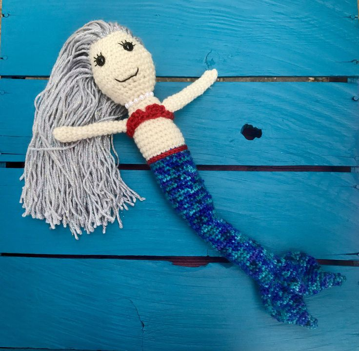 A personal favorite from my Etsy shop https://www.etsy.com/listing/504164926/crochet-mermaid-doll  #mermaid #doll #handmade #crocheted #crochet #tail #fin #mermaidhair #hair #bikini #mermaids #silver