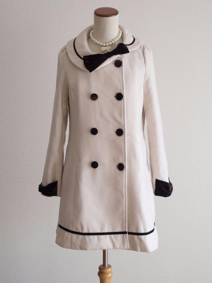 Blue Rogue Double Tuck Asymmetry Bow Coat Size Japan M Romantic Lolita Hime #BlueRogue #BasicCoat #Casual
