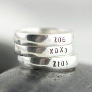 Sterling Silver Hand Stamped Personalized Ring