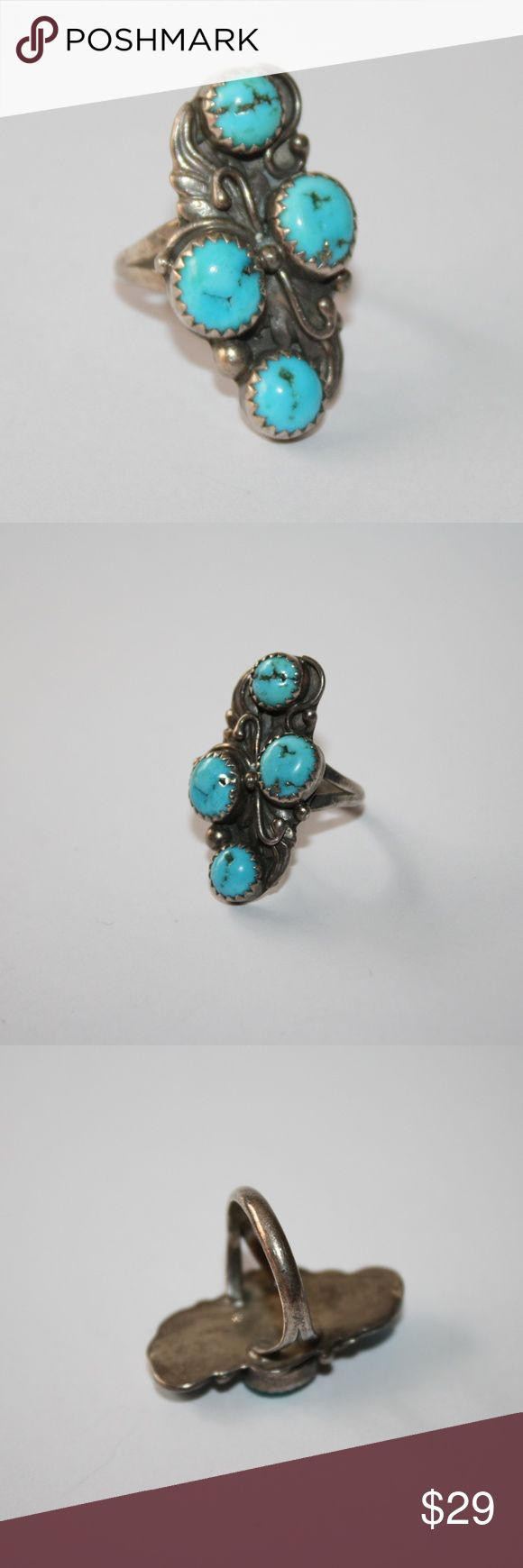 Sterling silver and turquoise ring, size 5 Beautiful sterling silver ring, Tested. size 5.  Buy from me with confidence! I have sold over 150 items with a 5 star rating! If you have any questions, do not hesitate to ask.  Looking at a few things in my shop? Put a bundle together, comment on an item that you are ready to check out and let me send you an even better offer!  Thank you for visiting :) Free gifts with every purchase! Jewelry Rings