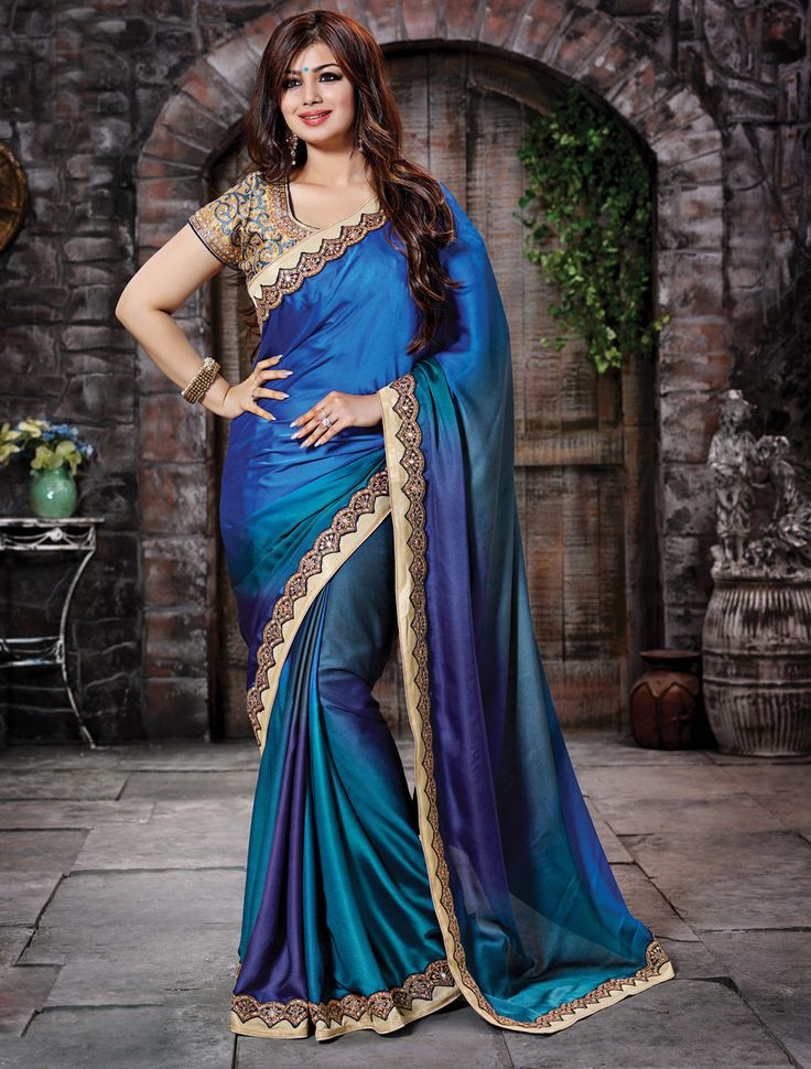 Bollywood Sarees Navels: $91.24 Ayesha Takia Blue Crepe Georgette Bollywood Saree