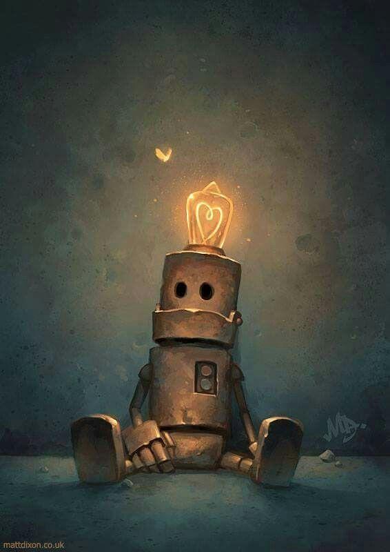 robot with lightbulb on head'
