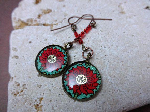 Recycled Upcycled Earrings Asian Inspired Iced by StippofallTrades