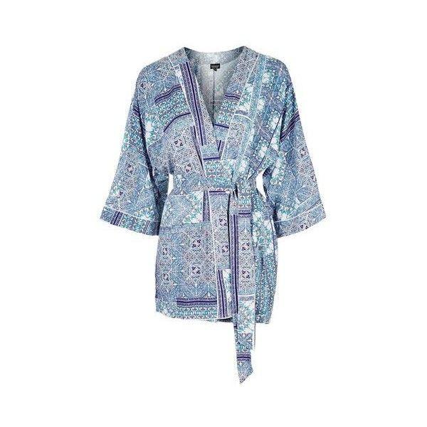 TopShop Tile Print Robe ($46) ❤ liked on Polyvore featuring intimates, robes, blue, topshop, topshop kimono, print kimono, kimono dressing gown and blue robe