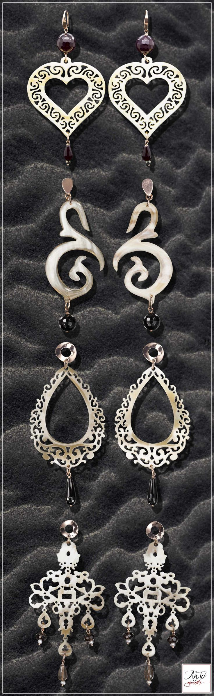 Our horn earrings, with stones and silver 925. Join on our Website for all jewels: http://www.antogioielli.it/