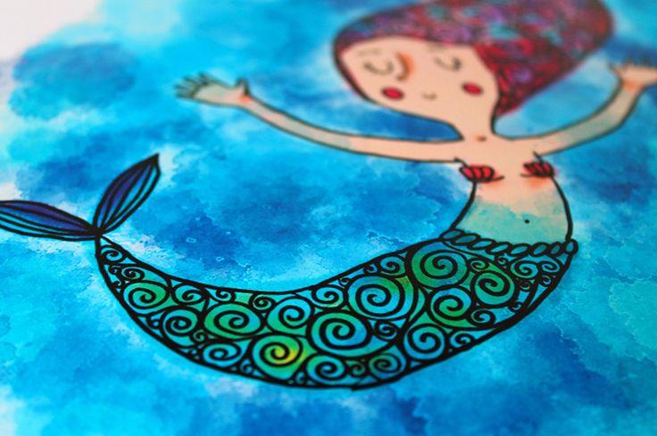 """Poster """"La sirenetta"""" illustrazione per bambini : Manifesti, illustrazioni, poster di ladouceurdumiel"""