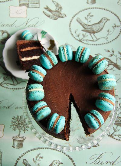macaroon-topped triple, triple chocolate cake