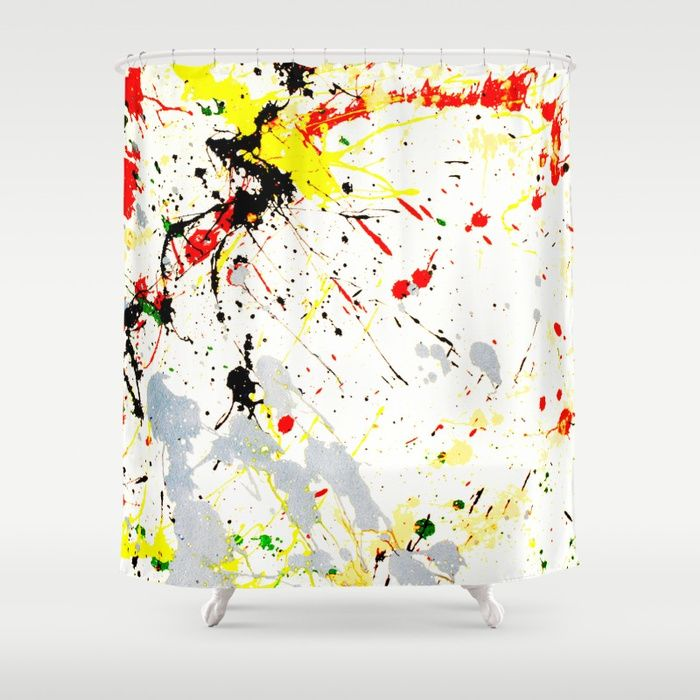 Paint Splatter Shower Curtain / #RoomDivider   Shower Curtain by #Gravityx9 - Customize your bathroom decor with unique #showercurtains designed by artists around the world. Made from 100% polyester our designer shower curtains are printed in the USA and feature a 12 button-hole top for simple hanging. The easy care material allows for machine wash and dry maintenance.  #homedecor #Bathroomdecor