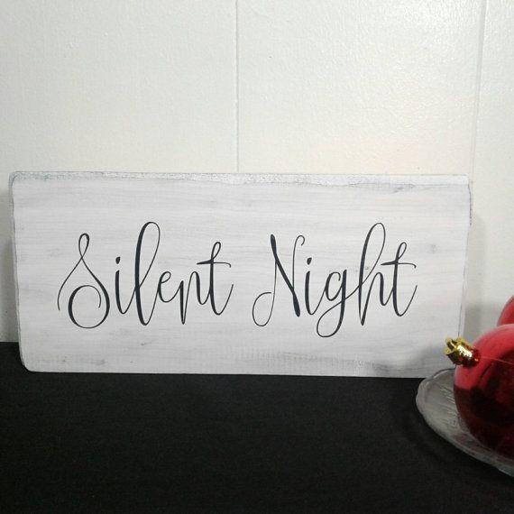 Farmhouse Style Silent Night Christmas Decor - Christmas Decorations - Christmas Wood Signs