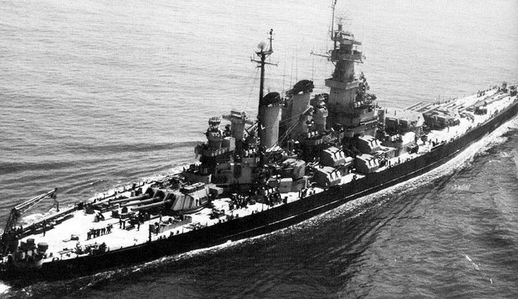 16 in USS North Carolina, 1942. Lead ship of the US Navy's first post-dreadnought era battleship class (Washington was the other), she was built to 35000 ton Washington Treaty limits, which led to some design difficulties: they were notably cramped, but over 50 feet longer than the later South Dakotas. Commissioned in April 1941, she earned 15 battle stars in the Pacific campaign. She is preserved at Wilmington.