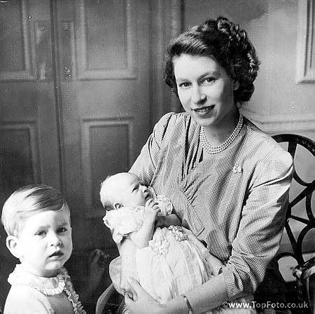 Princess Elizabeth With Baby Princess Anne And Prince