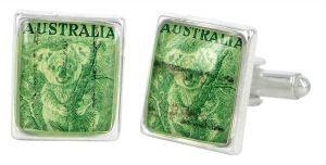 Koala vintage stamp and silver plate cufflinks - $110 http://www.lordcoconut.com/shop/koala-stamp-cufflinks/