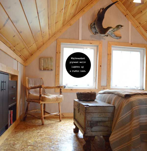 Put Plywood On Walls And Finish With Whitewash Cabin Interior