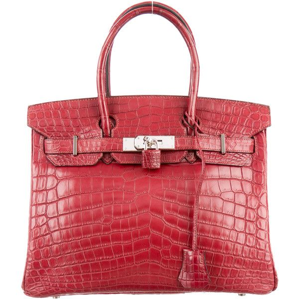 Pre-owned Herm?s Niloticus Crocodile Birkin 30 (579.205 ARS) ❤ liked on Polyvore featuring bags, handbags, burgundy, square purse, crocodile handbags, red crocodile handbag, crocodile purse and man bag