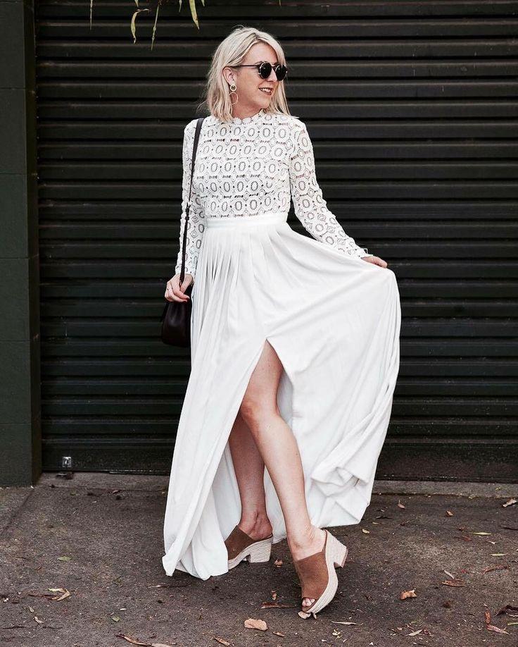 Self Portrait - Pleated Crochet Floral Maxi Dress  Geometric Lace | Long Sleeve | White Dress | Pleats | Split
