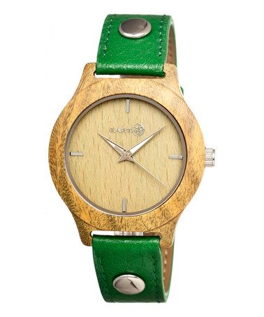 Love this Olive Tannins Leather-Strap Watch by EARTH wood watches on #zulily! #zulilyfinds