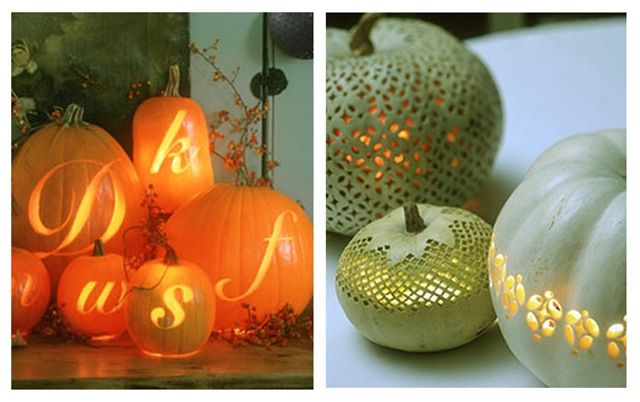 lacy pumpkin carvings | From Country Living From Martha Stewart